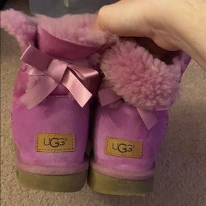 Used ugg baliey bow boots pink size 8